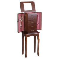 armoire chest - Jewelry Cabinet Armoire Storage Chest Stand Organizer Wood Box New
