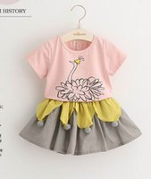 Wholesale 2016 Summer New Girl Sets Peacock Cartoon Short Sleeve Tshirts Ball Skirt Two Piece Fashion Outfits Children Clothing T