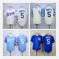 baseball brett - 2016 Majestic Official Cool Base MLB Stitched KC Kansas City Royals George Brett White BLue Gray Gold Jerseys Mix Order