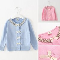Wholesale girls love sweet autumn spring thin coat cardigan children sweaters kids clothes fashion ages pink yellow
