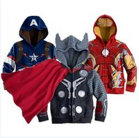 Wholesale Spring Trench Coats For Men - Cool ! Kids Boys cartton Hooded coat Jacket trench coat spider-man overcoat for autumn winter The avengers alliance Jacket 1542