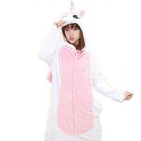 Wholesale Light Pink Unicorn Unisex Adults Casual Flannel Hooded Pajamas Cosplay Cartoon Cute Animal Onesies Sleepwear For Women Men