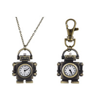 american pocket watch - Classical robot watches one set necklace key chain Fashion Men and women watch necklace pendant watches Pocket Watch Key Chain Watches