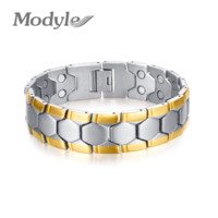 agate cheap - 18K Gold Plated Men Bracelet Jewelry Energy Health Magnetic Bracelets for Man Charm Balance Bracelets Cheap bracelet jewelry making