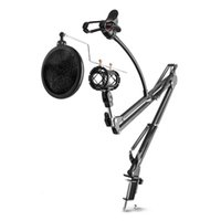 Wholesale Adjustable Desktop Mic Stand Microphone Holder Suspension Boom Scissor Arm Mount Shock Stand Cell Phone Holder