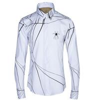 Wholesale PUNK Spider web Printed Mens Dress Shirts Brand Designer Casual Long Sleeve Cotton Slim Fit Men Shirt Black White