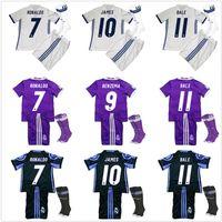 Wholesale 2016 Kids Real Madrid Full Sets Youth Soccer Jerseys James Serigo Ramos Bale Kroos Ronaldo Soccer Uniform Football Kits Boys With Socks