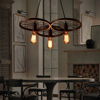 Wholesale LIXADA E27 Arms Retro Vintage Metal Wheels Hanging Light AC110 V AC220 V Ceiling Pendant Light Country Style Chandelier L1177 Z
