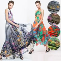 Wholesale Silk fabrics scarves cloth dress shirt Europe and the United States Wide positioning chiffon The dance of the forest multicolor