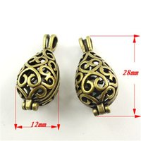 antique silver vase - 6PCS Antique style bronze tone brass hollow vase box pendant charm jewelry making
