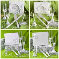 baby shower signature guest book - 4pcs set style high end Wedding Gift Set goblet signature guest book signing pen cake knife Party Favors Supplies baby shower