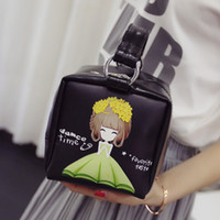 Wholesale Three dimensional printing rose flower girl box shaped Satchel Handbag Bag Mini Japan girl single shoulder bag