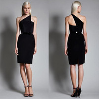 Wholesale Classic Black Stain One Shoulder Knee Length Cocktail Dresses Cheap Sheath Back Zipper With Sash Party Gowns For Women Custom EN61613