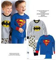 Wholesale 2017 Cute Boys kids cartoon cotton pajamas superman batman long sleeves Babies home wear suit pajama pyjamas