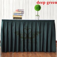 Wholesale Cheap Price Deep Green Color Poly Table Skirt For Table Cloth Wedding Decoration