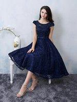 Wholesale Short Sleeeves Graduation Dresses Scoop Neck Sash Party Dresses Knee Length Short Prom Dresses Backless Lace Homecoming Dresses
