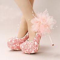 Wedding beautiful flowers rounds - Handmade Lace Appliques Wedding shoes Pink Flower Bridal Dress Shoes Women Beautiful High Heel Shoes Platform Bridesmaid Shoes