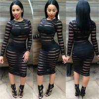 Wholesale Stripe See Through Dresses - 2016 Clubwear Party Night Club Dress Sexy Mesh Stripes Patchwork See Through Long Sleeve Bodycon Bandage Pencil Women Dress