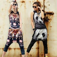 animal print dance costumes - Popular Ladies Summer Tracksuit Sports Suit Women Casual Hip hop Jazz Animal Printing Dance Costume Tops Harem Pant UA0160 salebags