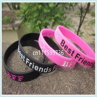 bff wristbands - 100pcs BFF Best Friends Forever Wristband Colour Filled In Silicon Bracelet Colours