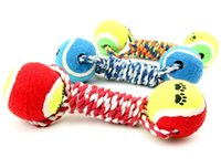 Wholesale Newest Pet Dog Toy Cotton Rope With Two Balls Interactive Training Dog Molars Teeth Clean And Durable Bite Ball Toys