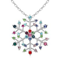 austrian fashion designers - Austrian Crystal Snowflake Pendant Necklace Designer Jewelry Branded Design K White Gold Plated Fashion Necklaces Women