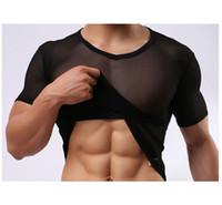 Cheap Mens Sexy Lace Sheer gauze short sleeve slim see through Summer Cool T-shirt Exotic Sleepwear Undershirts male mesh shirts gay clothing