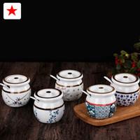 Wholesale Japanese style ceramic seasoning jar sugar jar and salt jar with lid and spoon seasoning box kitchen utensils tableware style