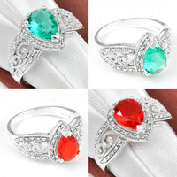 australia wedding rings - Holiday Gift Antique Red Quartz Green Amethyst Prasiolite Crystal Sterling Silver Plated Rings Russia Australia USA Wedding Rings