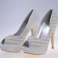 Acheter Perle chaussures de mariage à bout ouvert-Pas cher Blanc nuptiales Chaussures 12CM Stiletto Heel Open Platform Peep Toe luxe Cristaux Perle strass Pompes Heels Femmes Party Soirée