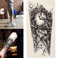 arm clocks - Black D Sexy Fake Transfer Tattoo Chest Clock Tatoos For Men Temporary Large Mechanical Arm Tattoo Sticker Women
