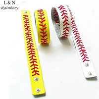 baseball cuff bracelets - Gum For Bracelets Sport Seamed Lace Leather Bracelets Herringbone Softball Fast Pitch Baseball Stitch cuff Bracelet