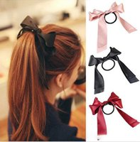 Wholesale Women Tiara Satin Ribbon Bow Hair Band Rope Scrunchie Ponytail Holder Color Hot