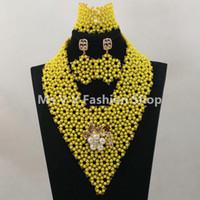 acrylic rhinestone earrings - crystal bead jewellery set Yellow Nigerian Wedding Bridal Accessories Costume African Jewelry Sets K girls white jewelry G01