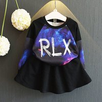 baby sweater sets - Baby girl Print letter sky skirt sweater set Fashion all match Sweatshirts black skirt suit new arrival Autumn clothes