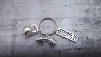 Wholesale 12pcs Gym Keyring Fitness Keychain Charms Gym Accessory Dumbell Keyring Strong Is Beautiful Kettlebell Keyring