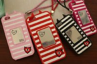 apples red devil - Low price litter devil stripe fake mirror silicon phoce case Iphone accessory