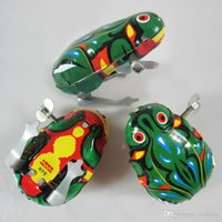 Wholesale Classic Wind Up Bouncing Frog cm Clockwork Iron Frog Vintage Funny Toy For Children Xmas Birthday Gift