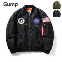 air force overcoat - Fall Woman men Casual Jacket Flight Pilot Coat Bomber ma1 Men Bomber Jackets Nasa Air Force Baseball Military lovers overcoat