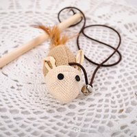 Wholesale Wooden Pole Hemp Mice Mouse Tease Cats Rods Plaything Environmental Fashion Wood High Quality Pet Toys
