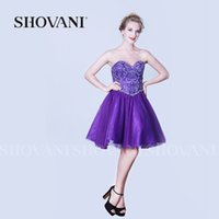 Wholesale SHOVANI Women fashion dress rich color short strapless backless beading satin evening dress cocktail party ladies gown
