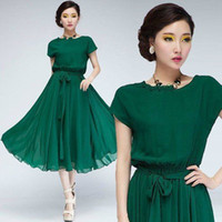 Wholesale Emerald Green Party Dresses Tea Length Crew Neck Capped Sleeves Graduation Gowns Chiffon Cheap Discount Homecoming Dress For Girls