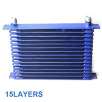 Wholesale 2015 Blue Universal Rows Oil Cooler Kit AN10 tubing Oil Filter Fitting Adapter transmission oil cooler