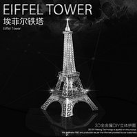 Wholesale DIY metal assembles toy d metal puzzle the Eiffel Tower nano metal model Creative educational stainless steel assembled the Eiffel Tower