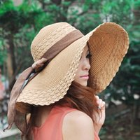 adult gigs - Hot sale Fashion and Retail Fashion Women Wide Large Brim Floppy Summer Beach Sun Straw Hat Cap With Gig Bow