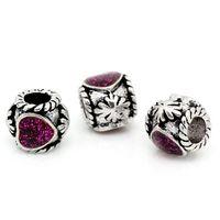 Wholesale New Arrival European Beads Enamel Purple Heart Fit Charm Bracelets Silver Tone charm bracelet base