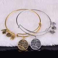 Wholesale Like A Daughter To Me Charm Bangle Hot Europe America Retro DIY Unisex Jewelry Alex style expandable ancient gold silver Bracelets