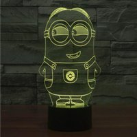 Wholesale Despicable Me D Visual Illusion Acrylic Lamp LED Light Touch Light Switch Colorful D Creative Station Nightlights