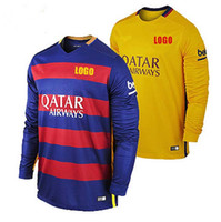 beige men s suit - Thai quality long sleeve jerseys Camp Nou home away togs Messi men s FCB soccer jerseys football shirt suits
