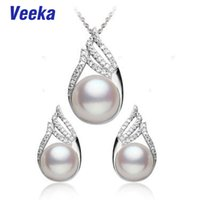 african culture women - Veeka jewelry sets sterling silver white real freshwater pearl necklace set cultured fresh water pearl earrings for women